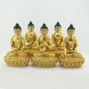 Dhyani Buddha Or Pancha Buddha Statues Set Lost Wax Method From Copper Alloy