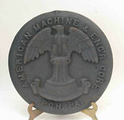 Antique American Machine And Engand039r Engineer Cast Iron Plaque Plate Cover Eagle Rr