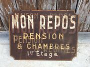 Large Stunning Original Rare Antique French ' Pension And Chambre' Sign