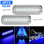 2x Blue 42led Underwater Boat Marine Transom Lights 316 Stainless Steel Pontoon