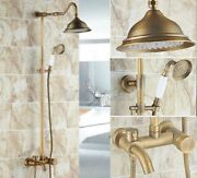 Antique Brass Wall Mount Shower Set Faucet Single Handle With Handshower