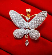 2.80ct Natural Round Diamond 14k Solid Yellow Gold Wedding Butterfly Pendant