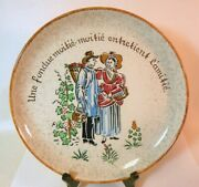 Rare Vtg Handpainted French Fondue Plate Country French Folk Art Wall Hanging