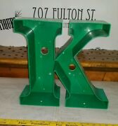 Reclaimed Industrial Green Channel Letter K Salvaged Decor Marquee Sign