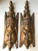 Vtg. Asian Carved Wood Masks Beautiful And Exotic Masks Collectables