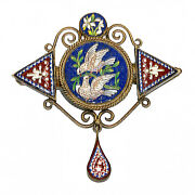2604 Micro Mosaic And Gold Plated Silver Brooch - Roma Second Half Of 19th C.