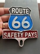 Route 66 Topper Frame Safety Pays Auto License Plate Classic Car Auto Hotrod Wow
