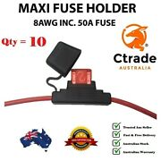 X10 50amp Maxi Fuse With Weatherproof Holder 8awg 8 Bands Wire Dual Battery 50a