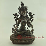 Hand Made Lost Wax Method Oxidized Copper Alloy With White Tara /dolkar Statue