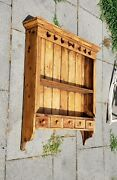 Antique Primitive Hanging Wooden Cupboard Shelf Farmhouse Country French Hearts