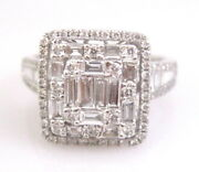 1.60 Tcw Baguettes And Round Brilliants Square Diamond Ring F-g Vs-2 18kt Wg