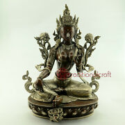 Hand Made Oxidized Copper Alloy With Silver Plating Green Tara Statue Nepal.