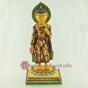 Hand Made Copper Alloy With Multicolored Finish Standing Buddha Statue