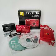 Nikon Coolpix S6500 16.0mp Digital Camera Red Case Batteries Charger Cds