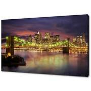 New York Brooklyn Bridge Night Canvas Print Picture Wall Art Free Fast Delivery