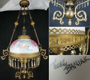 Antique Hurricane Oil Lamp Large Hanging Ceiling Hand Painted Cast Iron Signed