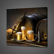 Beer Barrel Pints Canvas Picture Print Wall Art Home Decor Free Delivery