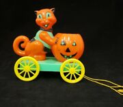 Vintage 1950and039s Rosbro Halloween Cat And Pumpkin Cart On Wheels Pull Toy