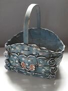 Vintage Hand Painted Blue Roses Wicker Easter Basket Folk Shabby Chic