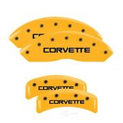 Mgp 4 Caliper Covers Engraved F And R C4/corvette Yellow Finish Black Char For 198
