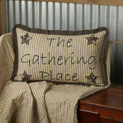 New Primitive Country Rustic Farmhouse Star Gathering Place Ruffled Edge Pillow