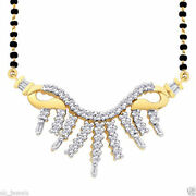 1.02ct Natural Baguette Round Diamond 14k Solid Yellow Gold Wedding Mangalsutra