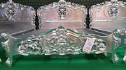 Uk King Size 5and039 Silver Leaf Hand Carved Mahogany Solid Wood Rococo Bed