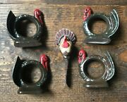Thanksgiving Napkin Rings And Spreader Knife-turkey-set Of 4-jomer 1975-holiday