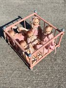 """Vintage P And M Doll Company Tub Able Doll Babies N Antique Crib 5"""" Lot Of 6 ❤️m13"""