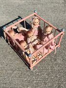 """P And M Doll Crib Madame Alexander Fischer Quintuplets Doll Babies 5"""" Lot 6 ❤️m13"""