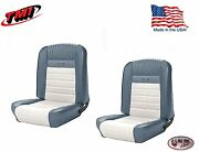Deluxe Pony Seat Upholstery Ford Mustang, Front Bucket Seats - Blue And White