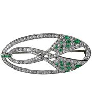 2.14ct Natural Round Diamond 14k Solid White Gold Emerald Wedding Brooch Pin