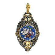 2603 Micro Mosaic And Silver And Gold Pendant Second Half Of 19th C. Roma