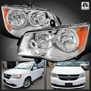 For 2011-2018 Dodge Grand Caravan Replacement Clear Headlights Pair Left+right
