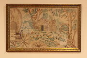 Antique Hand Embroidered Folk Art Cabin In The Woods Conestoga Wagon Framed
