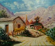 Masterpiece Chilean Desert Hand Painted Oil On Canvas By Guy Foster