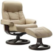 Hjellegjerde Fjords Muldal Recliner And Ottoman Genuine Leather Norwegian Recliner