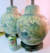 Superb Pair Vtg Hand Painted Ginger Jar Lamps Plums Leaves Asian