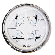 Faria 5 Multifunction Gauge Chesapeake White Fuel Oil Water And Voltmeter33864