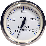Faria Chesapeake White Ss 4 Tachometer - 4000 Rpm Diesel - Magnetic Pick-up