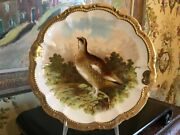 Antique Bavarian Porcelain Wall Plate Game Bird Hand Painted