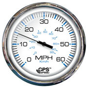 Faria 5 Speedometer 60 Mph Gps Studded Chesapeake White W/ Stainless Steel