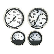 Faria Spun Silver 4 Gauges For Outboard Engines - Speed Tach Voltmeter And Fuel