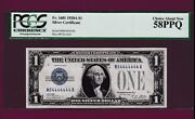 Fr.1601 1 1928 A Silver Certificate Funny Back Near Solid M 84444444 A Pcgs