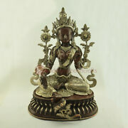 Oxidized Copper Alloy With Silver Plating Green Tara / Dolma Statue