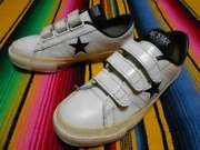 Converse Allstar One Star Velcro Made Japan Black Printing Leather Size 4 1/2