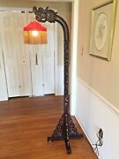 Vintage Asian Carved Wood Dragon Floor Lamp With Red Silk Shade Gold Tasseling