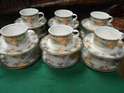 Magnificent Mikasa Intaglio Garden Harvest Set Of 12 Cups And Saucers
