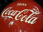 """Rare1 Of A Knd Porcelain 1940-50s16"""" Coca Cola Metal Sign W/ White And Blk Back"""