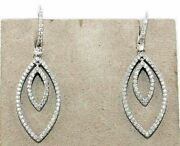 3.38ct Natural Round Diamond 14k Solid White Gold Dangler Snap Closure Earring